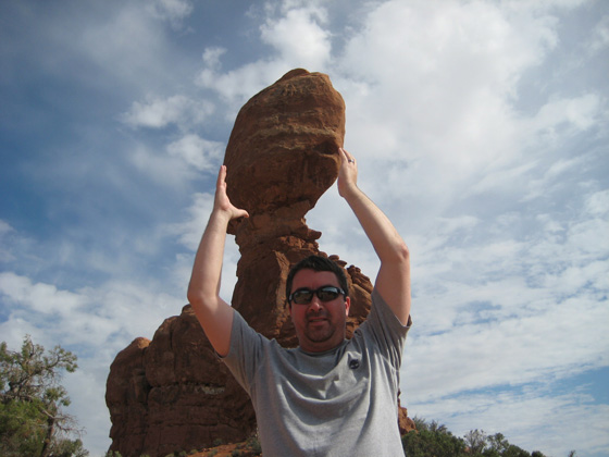 Marty holding Balance rock