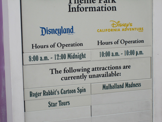 disney hours sign