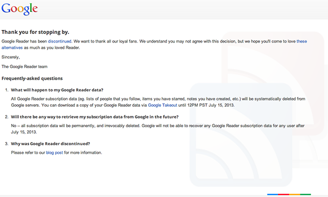 google reader closed