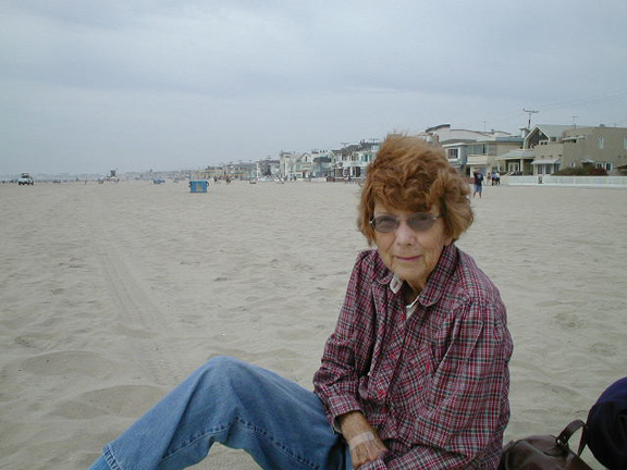 Mom at Newport Beach - August, 2002