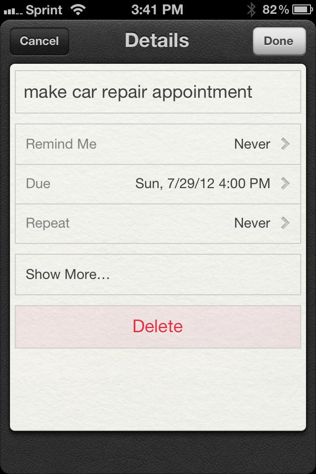 iOS reminders details