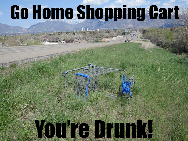 shopping cart drunk