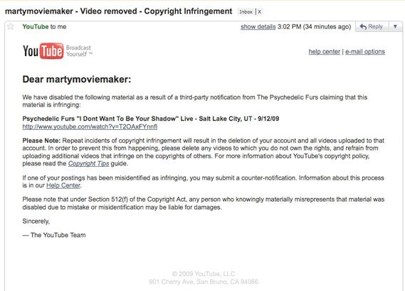 youtube gmail notice